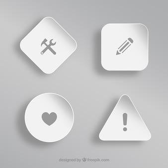 Verschillende pictogrammen op witte vormen