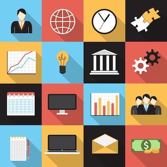 Verschillende pictogrammen over het bedrijfsleven