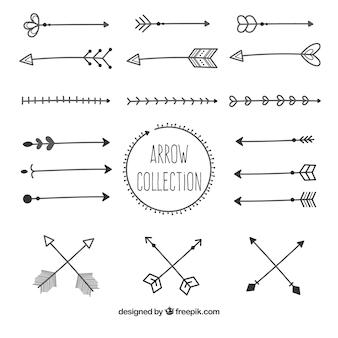 Verschillende pijleninzameling om te merken