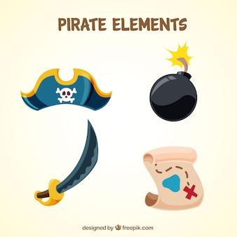Verschillende piratenelementen in platte vormgeving