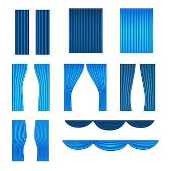 Verschillende podium blauwe gordijnen vector collectie
