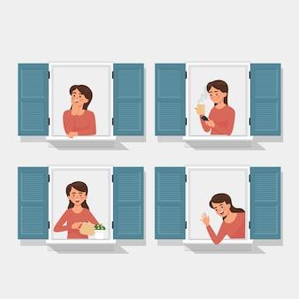 Verschillende pose van meisje uit een open raam