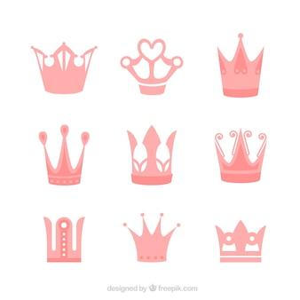 Verschillende prinses kronen in roze tinten