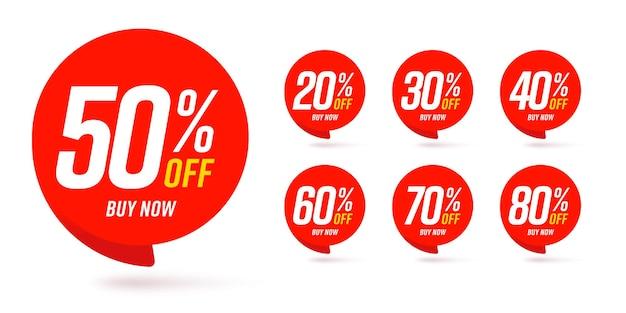 Verschillende procent korting sticker korting prijskaartje set.
