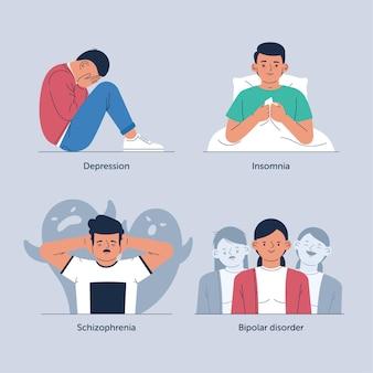 Verschillende psychische stoornissen concept