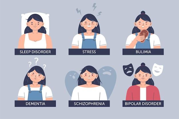 Verschillende psychische stoornissen illustratie
