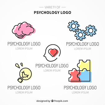 Verschillende psychologie logo's met kleur