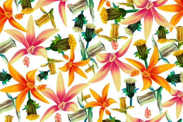 Verschillende realistische kleurrijke bloemenachtergrond