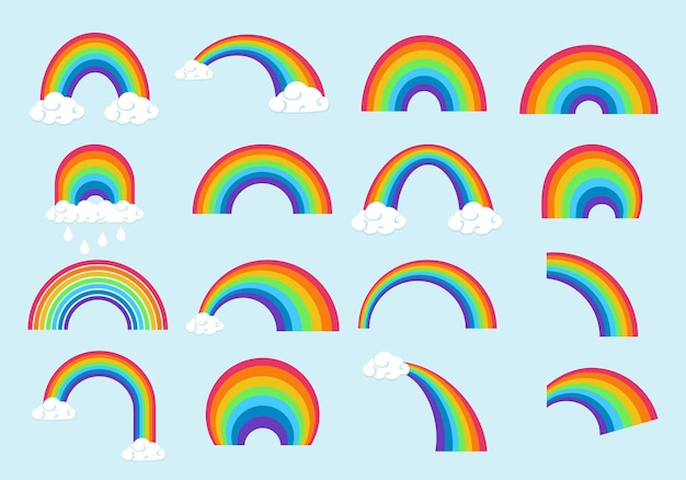 Verschillende regenboogvormen set