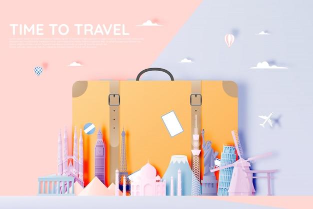Verschillende reisattracties in papieren kunststijl