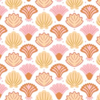 Verschillende retro schelpen patroon