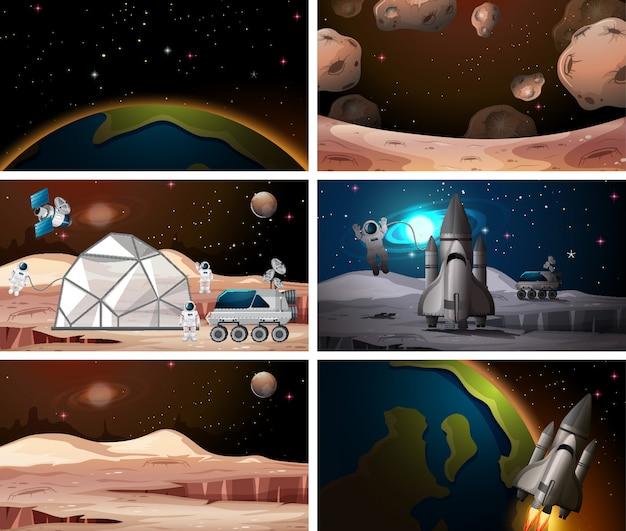 Verschillende ruimtescène achtergronden