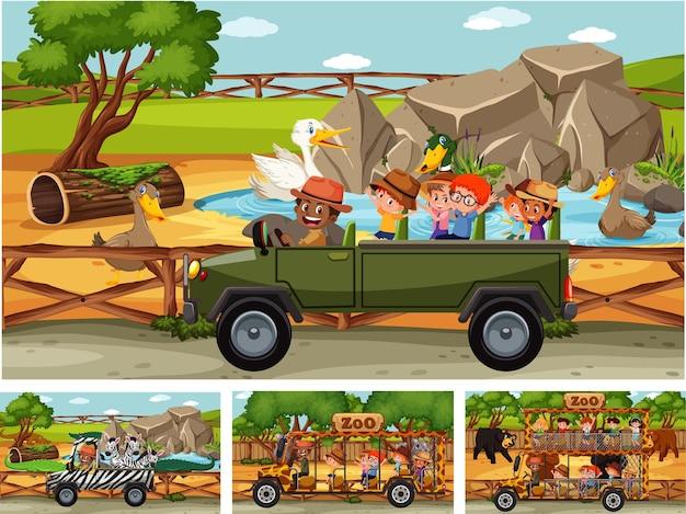 Verschillende safariscènes met dieren en stripfiguren voor kinderen