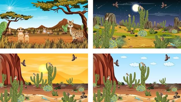 Verschillende scènes met woestijnboslandschap met dieren en planten