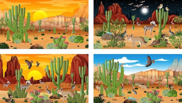 Verschillende scènes met woestijnboslandschap met dieren en planten Gratis Vector