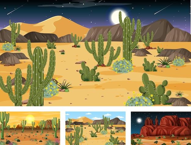 Verschillende scènes met woestijnboslandschap met verschillende woestijnplanten