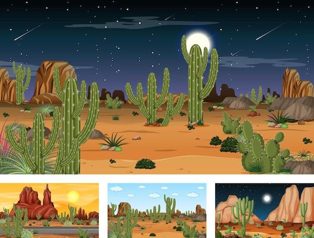 Verschillende scènes met woestijnboslandschap