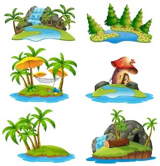 Verschillende scènes van eilanden