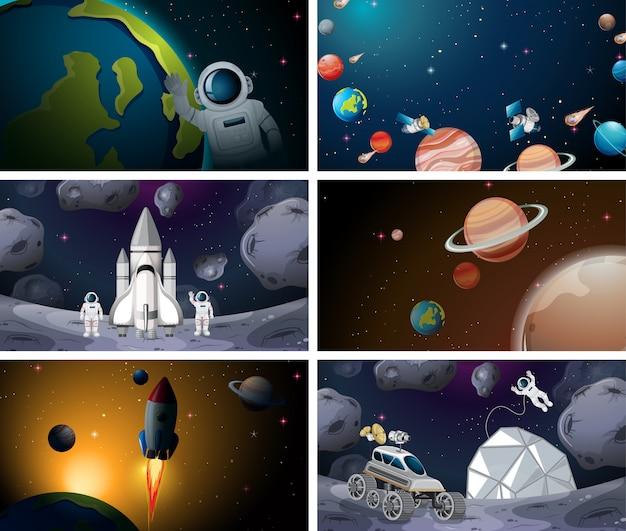 Verschillende scènes van het zonnestelsel