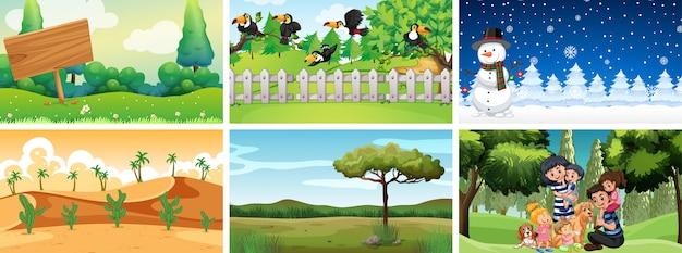 Verschillende scènes van natuurparken
