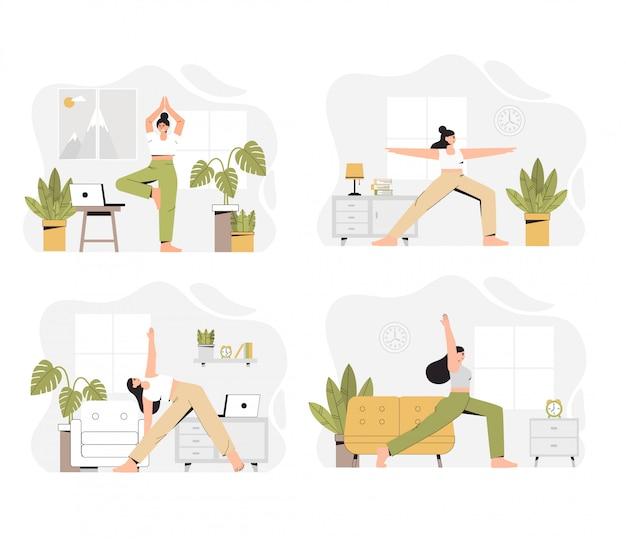 Verschillende scènes van yogatraining, een vrouw die yoga thuis in een woonkamer doet.