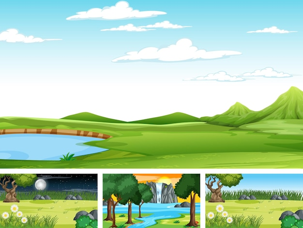 Verschillende scèneset van natuurpark en bos