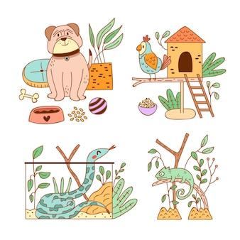Verschillende schattige huisdieren en hun leefomgeving