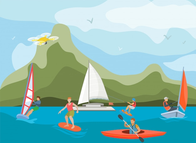 Verschillende schepen en schepen voor illustratie van de wateractiviteit. watersporters mensen en soorten sporten surfen, windsurfen, kajakken, zeilen en wakeboarden.