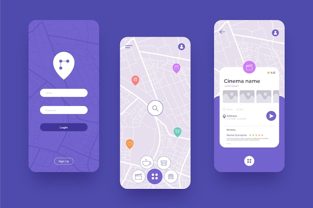 Verschillende schermen voor mobiele locatie-app