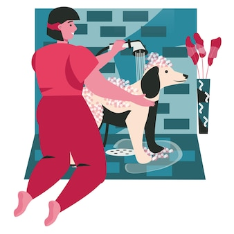 Verschillende situaties in het leven van huisdierenscèneconcept. vrouwelijke eigenaar wast haar hond in schuimdouche. dierenverzorging en dierenverzorging, activiteiten voor mensen. vectorillustratie van karakters in plat ontwerp