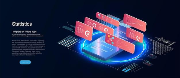 Verschillende situaties, mensen communiceren met grafieken, met een mobiele telefoon boekhouding, big data, blockchain-technologie isometrisch, visualisatie van mobiele telefoongegevens.