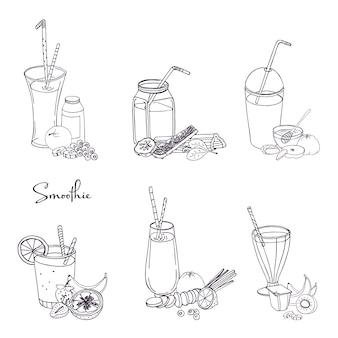 Verschillende smoothieset. collectie van verschillende zomer drankjes met fruit, bessen, groenten. hand getekende illustratie.