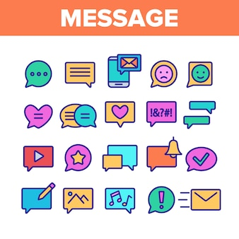 Verschillende sms-bericht icons set