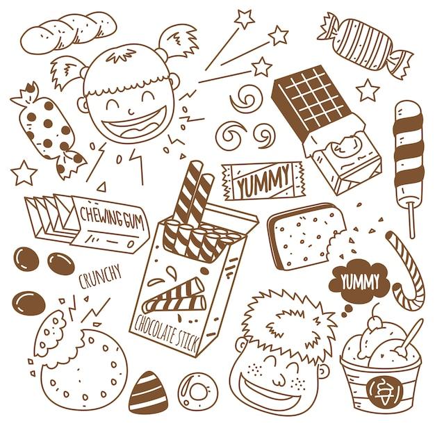 Verschillende snoepjes met gelukkige kinderen in doodle stijl