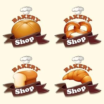 Verschillende soorten brood en borden