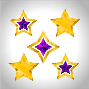 Verschillende soorten en vormen van gouden sterren. illustratie voor ontwerp op witte achtergrond