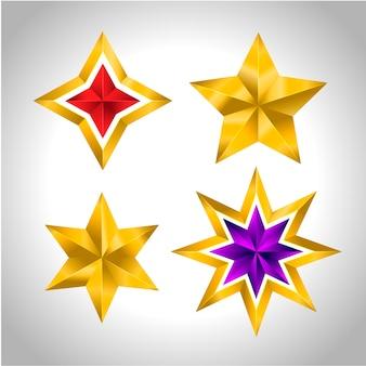 Verschillende soorten en vormen van gouden sterren