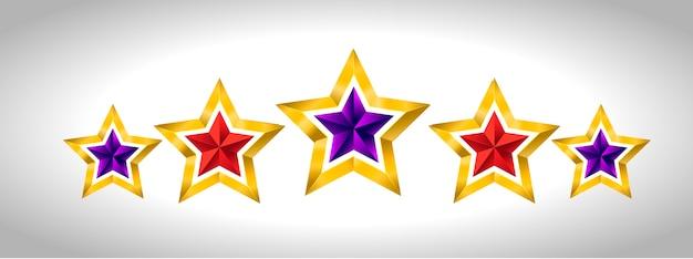 Verschillende soorten gouden sterren.