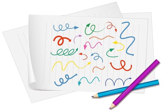 Verschillende soorten handgetekende gebogen pijlen op papier