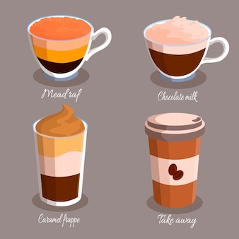 Verschillende soorten koffie in kopjes
