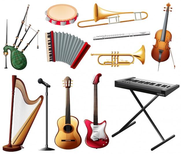 Verschillende soorten muziekinstrumenten op wit
