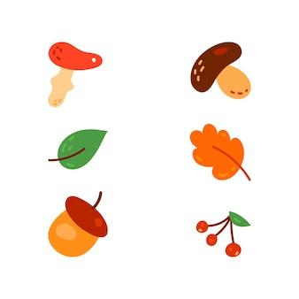 Verschillende soorten paddestoelen en bladeren set.