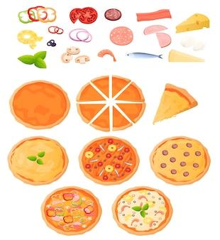 Verschillende soorten pizza bovenaanzicht. ingrediënten voor pizza, cake. pizza is in stukjes verdeeld. kleurrijke illustratie in platte cartoon stijl.
