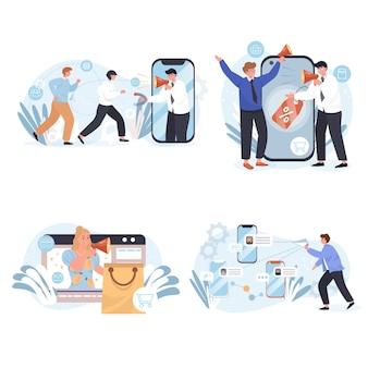 Verschillende soorten scènes voor marketingconcepten
