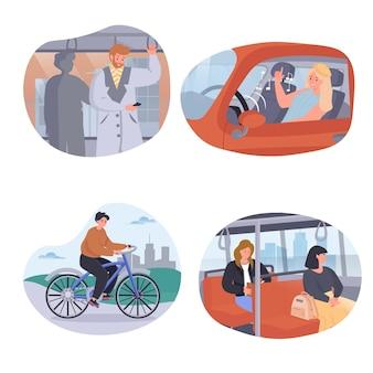 Verschillende soorten scènes voor stadsvervoerconcept