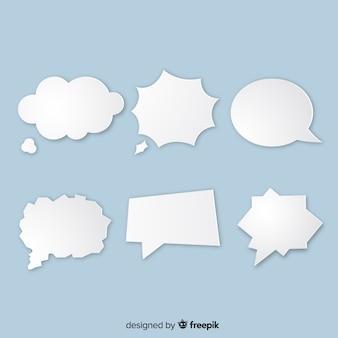 Verschillende soorten tekstballonnen in papierstijl
