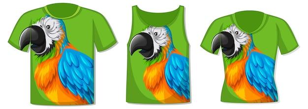 Verschillende soorten topjes met patroon van papegaaienvogels