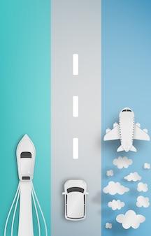 Verschillende soorten vervoer papier kunst
