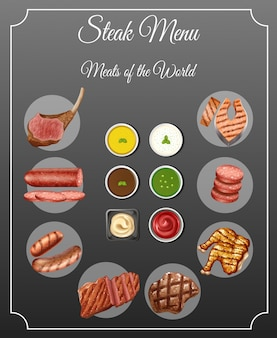 Verschillende soorten vlees en sauzen op biefstukmenu