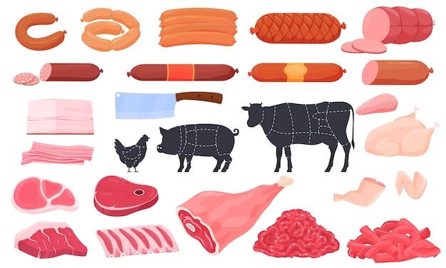 Verschillende soorten vlees. worsten, ham, reuzel, biefstuk, vleugels, dijen, kip, biefstuk, ribben.